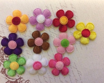 SET of 20 Bright and Colorful Silk/felt Spring Flower Appliques/diy/trim/embellishments/cards/hair bow centers/hair clip