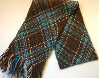 100% Wool Blue and Brown Woven Scarf