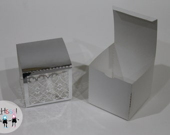 Silver Party Favor Box- Pack of 10