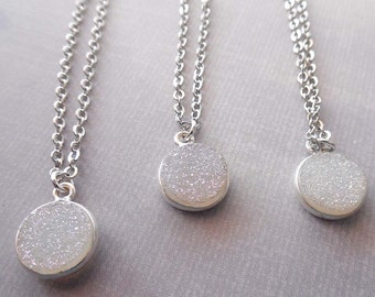 Round White Druzy Necklace /Small White Druzy / Natural Silver White Druse / Simple Minimal Necklace / White Bridesmaid Gift Wedding/ GD15