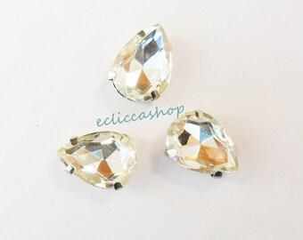 Stone transparent crystal drop. Bezel nickel-free metal 1pz