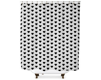 Black and white heart shape shower curtain