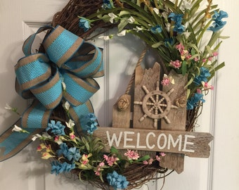 Natical welcome grapevine wreath, turquoise and burlap bow, pink and blue flowers, wooden natical sign, beach or lakeside wreath, welcome