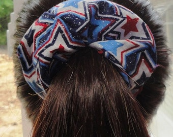 4th of July, American Star Blue glitter Scrunchies, US Scrunchies, US Flag, Patriotic scrunchies, American Flag tie, red white blue tie