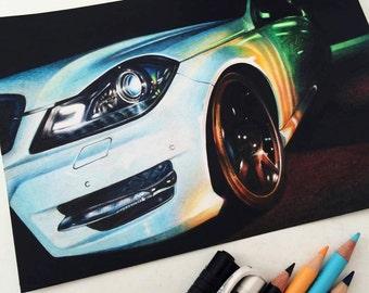 Original Mercedes Drawing (21x15 cm, colored pencils on paper)