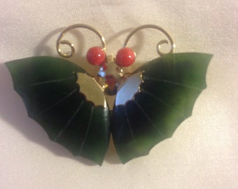 Jade & Coral Butterfly/Pin Brooch