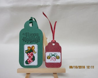 Cross stitched Christmas gift tags