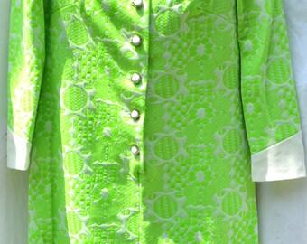 Vintage 1960's Dress Kay Windsor M L Green White Polyester Union Made USA ILGWU