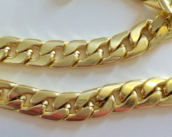Gold Plated Steel Curb Chain - Tarnish resistant curb chain, chunky curb chain, gold curb chain