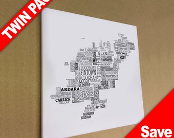 """Twin Pack - Typographical Map Canvas Prints 16"""" x 16"""""""