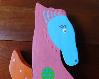 Wood Fence Picket Multi-Colored Sea Horse