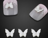 2pc 3D Nail Art Nail Gems White Rhinestones Butterfly Butterflies  Nail Art Pair Them With Our Great Nail Decals