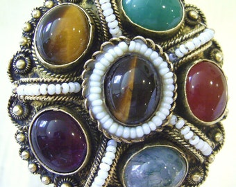 Vintage 935 STERLING Vermeil BROOCH Pin PENDANT Jade Amethyst Carnelian Tiger Eye Hand Made In Israel 20 grams  *Free Shipping*