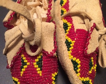 Vintage native American Indian fully beaded leather booties/moccasins