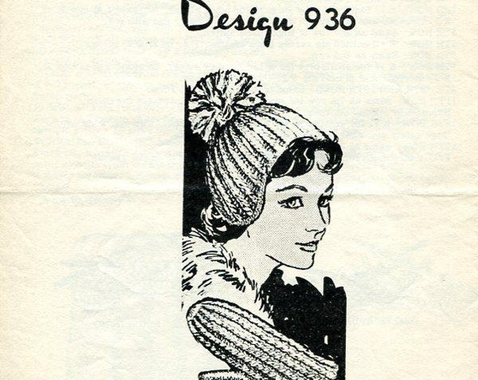 FREE US SHIP 1960's Mail order Knitted Cap Hat and Mitten Set Large 1 page Leaflet  Vintage 60s  retro