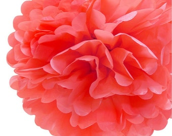 "8"" Roseate Tissue Paper Pom Pom Flowers, Hanging Decorations (4 PACK)"