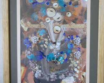 Mixed Media Collage in browns, gray, blue and turquoise