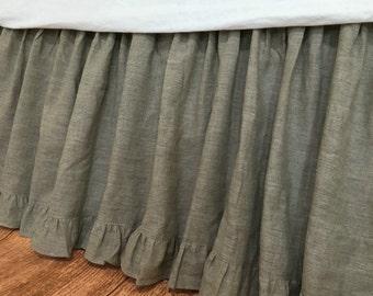 Dark Linen Bed Skirt with Ruffle Hem, linen dust ruffles, shabby chic bedding