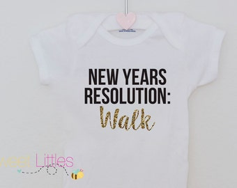 New Years Resolution Onesie/Walking/2017/Baby/Cute/Glitter/Holiday Apparel/New Years Eve/Outfit/Dressy