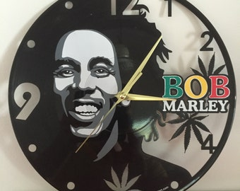 "Bob Marley vinyl record wall clock - upcycled from an original 12"" vinyl record"