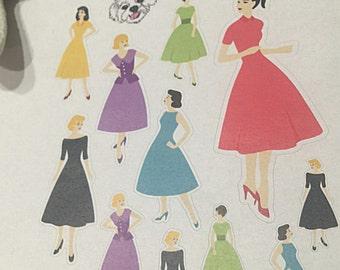 Vintage Ladies Planner Stickers - Mid Century Modern - 50's - Beautiful Ladies - 3004
