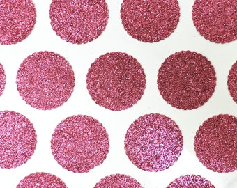 "100 Pink Glitter Table Confetti 1"" Scalloped Circles"