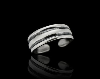 Sterling Silver Toe Ring - Solid Lines Toe Ring