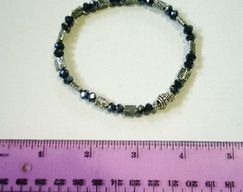 Handmade genuine black aurora borealis crystal bead with patterned tibetan silver spacers*anklet*fits 8-1/2 inch ankle*summer fashion