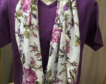 infinity scarf, unique, handmade, floral