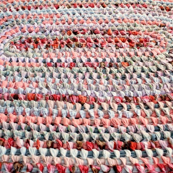 Pink Cotton Rag Rug/Oval Toothbrush Rug/Pink By