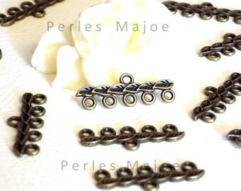 10 x connecteurs décor feuille couleur bronze 26 X 10 mm