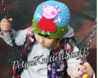 Peppa Pig Hat, Baby Girl Hat, Crochet Girl's Hat, Peppa pig crochet hat, Cotton Crochet Hat, Crochet Baby Girl Hat, Peppa Pig Beanie,