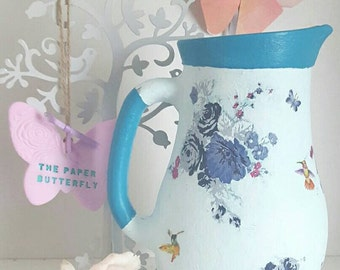 Teal and duck egg butterfly, floral, humming bird vase, teal home decor, gift for her, gift for new home, pretty home gift, butterfly gift