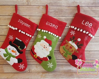 Personalised christmas stocking santa , personalized stocking , reindeer , snowman. personalsied christmas decoration
