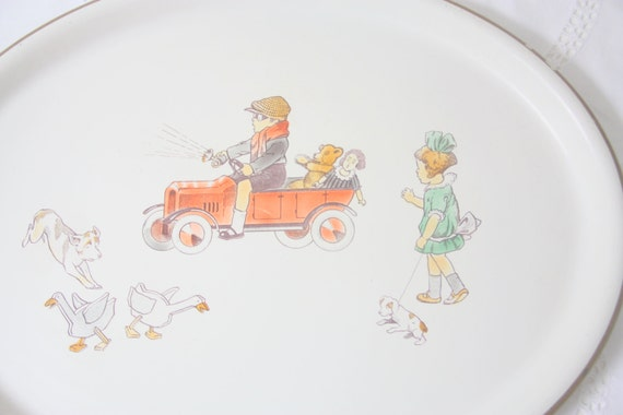 Large Vintage Oval Tin Serving Tray with Playing Children's Decor, Germany