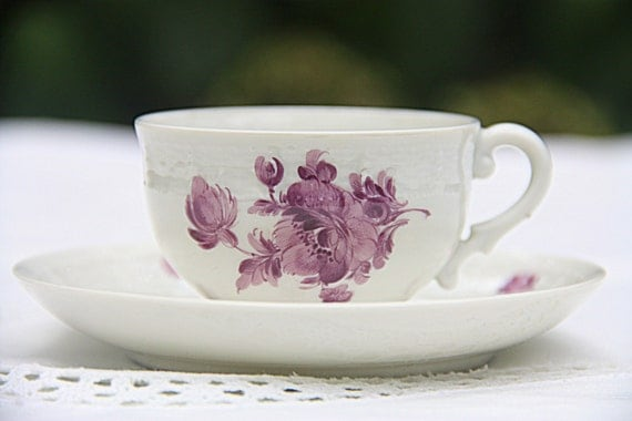 Vintage Nymphenburg Porcelain Demitasse Cup and Saucer, Small Teacup and Saucer, Pink/Purple Flower Decor, Germany, Numbered