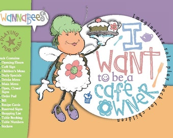 Cafe Owner role play pack for pretend play includes Order Pad, Menus, Recipes, Stickers etc