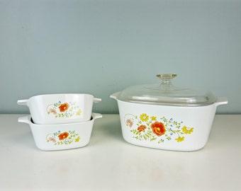 3 Piece Set Corning Ware 3 Quart Wildflower Pattern, Floral Corning Ware, Large Size Corning Ware, Large Casserole Dish, Vintage Kitchen