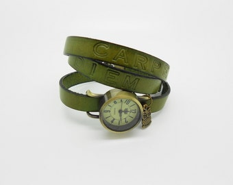 vintage watch 3 message leather strap turns green bronze