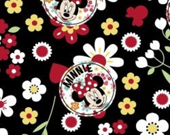 Minnie Mouse Floral Toss on black background - by the Half Yard
