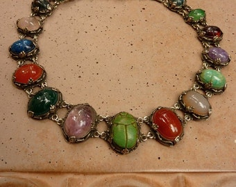 Beautiful Vintage Egyptian Revival Scarab Sterling Silver & Semi Precious Cabochon Necklace