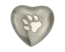 Paw Print on Pewter Heart Urn Keepsake for Dog Cat Ashes Cremation