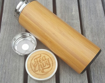Bamboo tea infuser bottle with removable tea strainer.  Perfect for tea, coffee or your other favourite beverage.