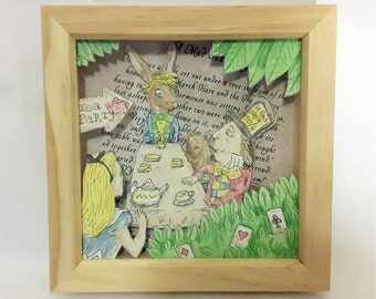 "Alice's Adventures in Wonderland ""A Mad Tea Party"" Hand-Drawn Watercolour 3D Box Frame."
