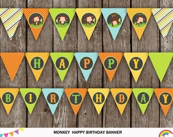 Monkey Birthday Banner Printable, Little Monkey Bunting Banner, Little Monkey Party, Monkey Birthday Party, INSTANT DOWNLOAD, Digital File