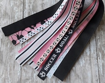 Pink and Black Soccer Streamers,Black and Pink Soccer Ponytail Streamers,Soccer Hair Bows,Soccer Ponytail Holder,Soccer Bows,Soccer.
