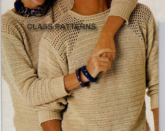 Free Crochet Patterns Ladies Jumpers : sweater crochet pattern for men or women vintage crochet