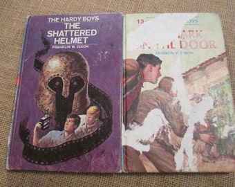 Vintage Hardy Boys Books, #13, #52, The Mark on The Door, The Shattered Helmet - Set of 2