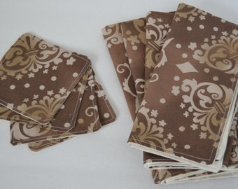Tan and Brown Lunch Napkin Set with Coasters