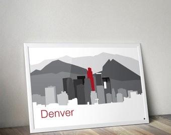 Denver City Skyline Poster, Colorado, Rocky Mountains, Skylines